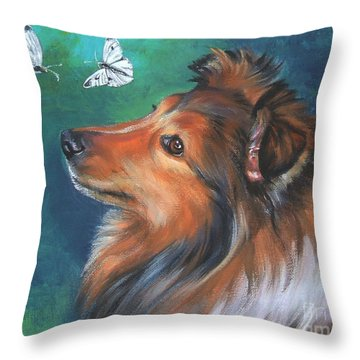 Shetland Sheepdog And Butterfly Throw Pillow by Lee Ann Shepard