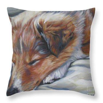 Shetland Sheepdog Sleeping Puppy Throw Pillow by Lee Ann Shepard