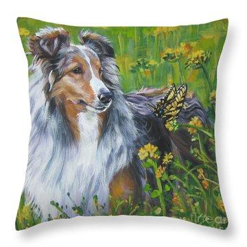 Shetland Sheepdog Wildflowers Throw Pillow by Lee Ann Shepard