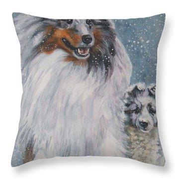 Shetland Sheepdogs In Snow Throw Pillow by Lee Ann Shepard