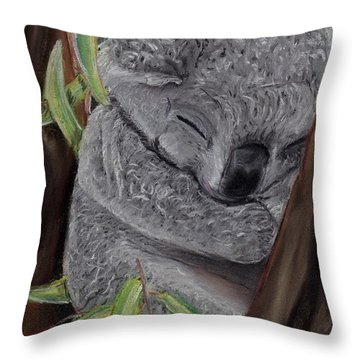 Shhhhh Koala Bear Sleeping Throw Pillow by Kelly Mills