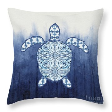 Shibori Blue 1 - Patterned Sea Turtle Over Indigo Ombre Wash Throw Pillow