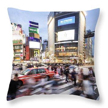 Shibuya Crossing At Night In Tokyo Throw Pillow