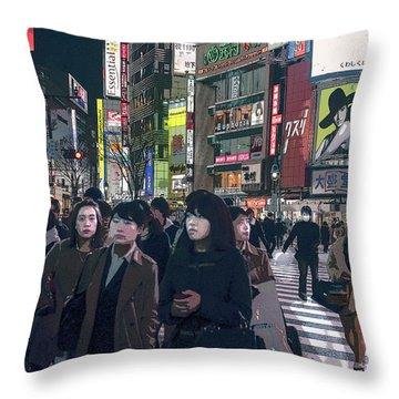 Shibuya Crossing, Tokyo Japan Poster 2 Throw Pillow