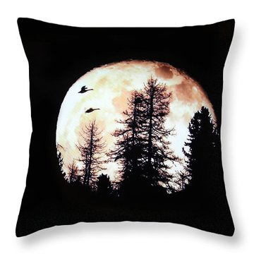 Silhouettes Om Full Moon Throw Pillow by Linda Phelps