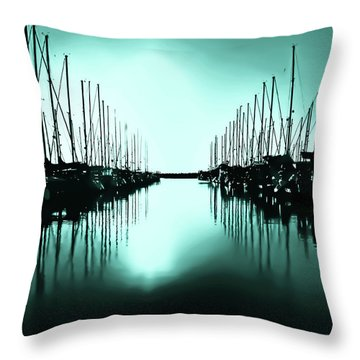 Shilshole Bay Marina In Seattle Washington Throw Pillow
