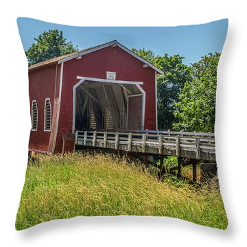 Shimanek Covered Bridge No. 2 Throw Pillow