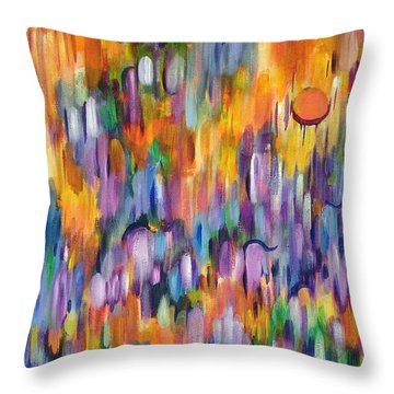 Throw Pillow featuring the painting Shimmer by Lynda Lehmann