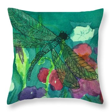 Shimmering Dragonfly W Sweetpeas Square Crop Throw Pillow