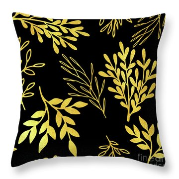 Shimmering Golden Leaves Nature Pattern Throw Pillow