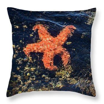 Shimmering Starfish Throw Pillow