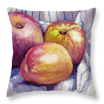 Throw Pillow featuring the painting Shine On 3 Apples by Kris Parins