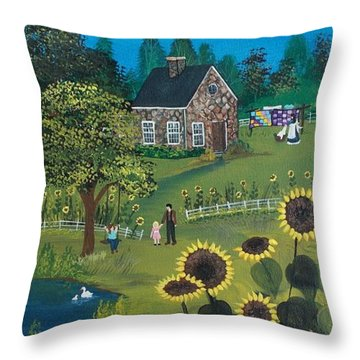 Throw Pillow featuring the painting Shine On by Virginia Coyle