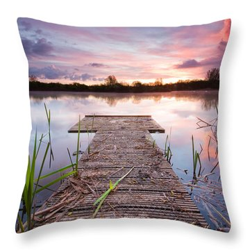 Shinewater Lake Sunrise Throw Pillow