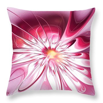 Shining Pink Flower Throw Pillow by Anastasiya Malakhova