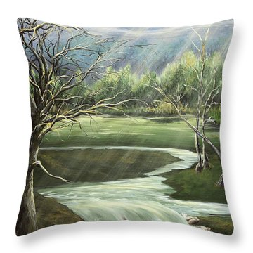 Shining Sisters Throw Pillow by Janice Smith