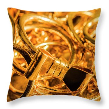 Shiny Gold Rings Throw Pillow
