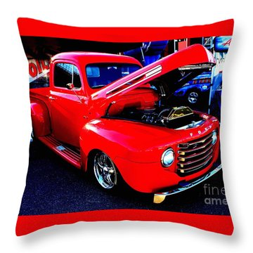 Shiny Red Ford Truck Throw Pillow