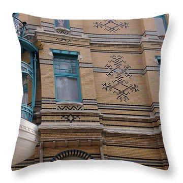 Ship As A Facade Decoration In Antwerp Belgium Throw Pillow