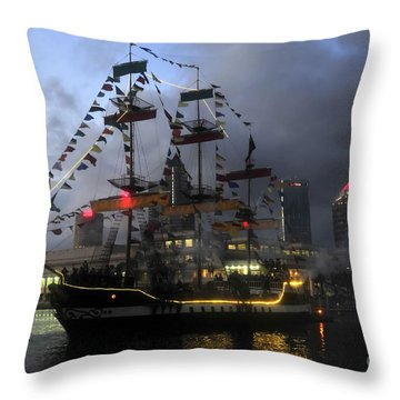 Ship In The Bay Throw Pillow