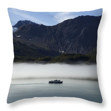 Ship In The Fog Throw Pillow