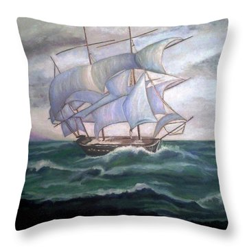 Ship Out To Sea Throw Pillow by Manuel Sanchez