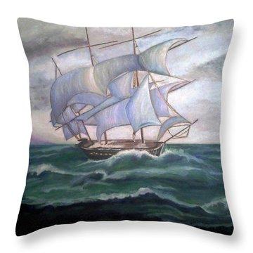 Ship Out To Sea Throw Pillow