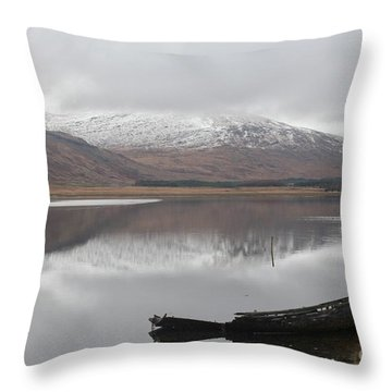 Ship Reck On Isle Of Mull Throw Pillow