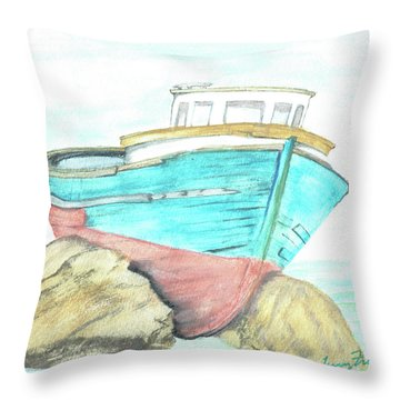 Throw Pillow featuring the painting Ship Wreck by Terry Frederick