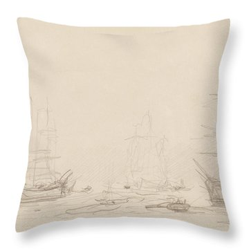 Shipping In Falmouth Harbour Throw Pillow