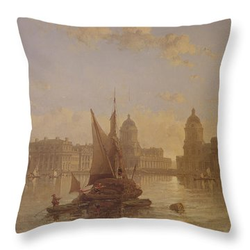 Shipping On The Thames At Greenwich Throw Pillow by David Roberts