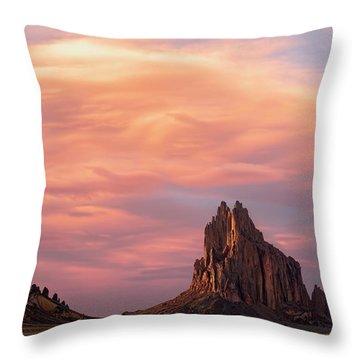 Shiprock At Sunset Throw Pillow