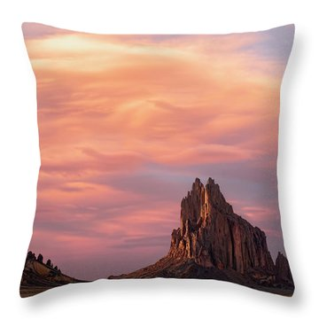 Shiprock At Sunset Throw Pillow