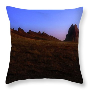 Throw Pillow featuring the photograph Shiprock Under The Stars - Sunrise - New Mexico - Landscape by Jason Politte