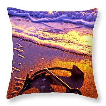 Ships Anchor On Beach Throw Pillow by Garry Gay