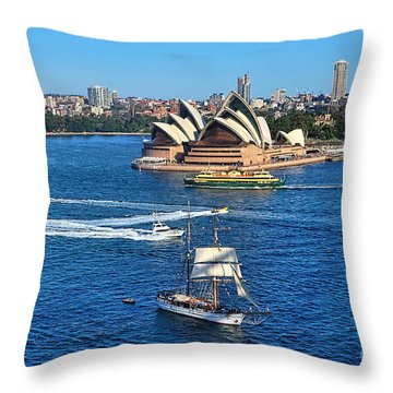 Ships And Boats Passing Opera House Throw Pillow by Kaye Menner