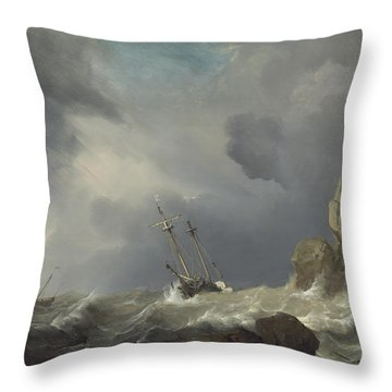 Ships In A Gale Throw Pillow