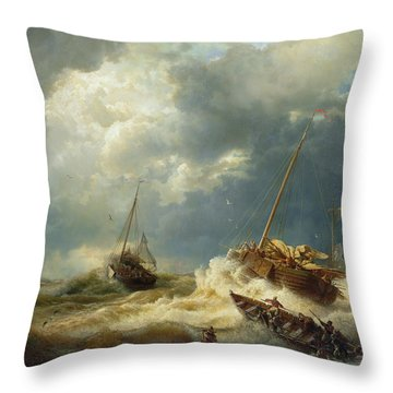 Ships In A Storm On The Dutch Coast Throw Pillow by Andreas Achenbach