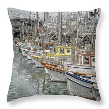 Ships In The Harbor Throw Pillow