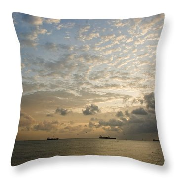 Ships In The Ship Channel.  Throw Pillow