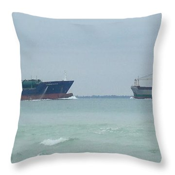 Ships Meet Throw Pillow