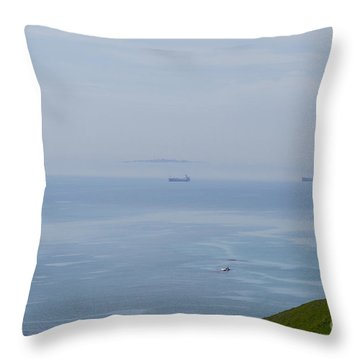 Ships Of Durdle Dor Throw Pillow by Andrew Middleton