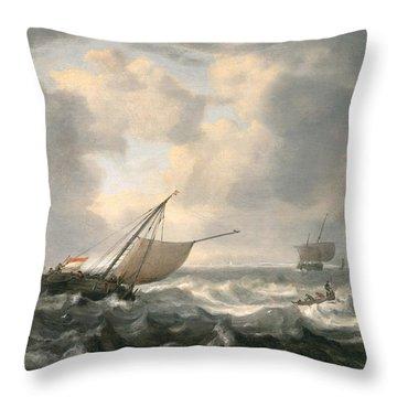 Ships On A Choppy Sea Throw Pillow by Hendrik van Anthonissen