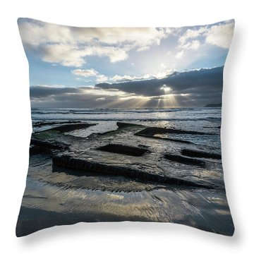 Shipwreck And Sun Rays Throw Pillow by Scott Cunningham