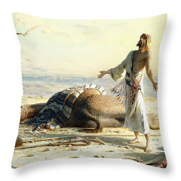 Shipwreck In The Desert Throw Pillow by Carl Haag