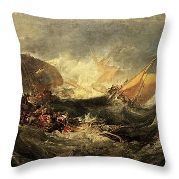 Throw Pillow featuring the painting Shipwreck Of The Minotaur by J M William Turner