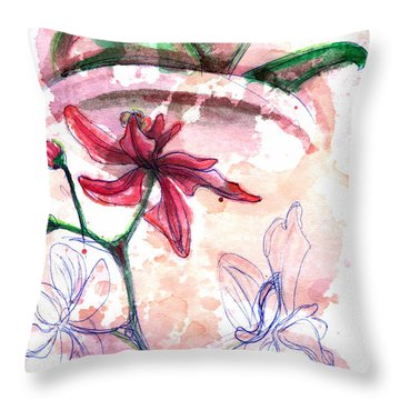 Shiraz Orchid II Throw Pillow by Ashley Kujan