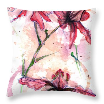 Throw Pillow featuring the painting Shiraz Orchids I by Ashley Kujan