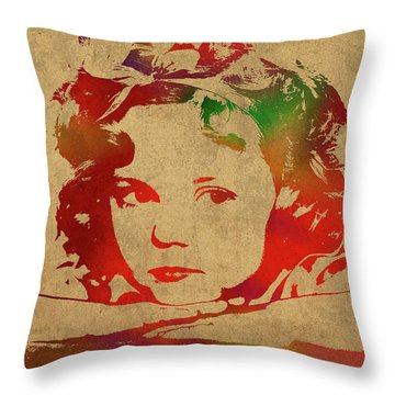 Shirley Temple Watercolor Portrait Throw Pillow