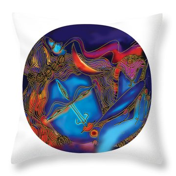 Shiva Blowing The Horn Throw Pillow